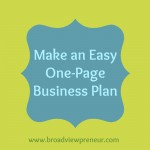 Make an Easy One-Page Business Plan